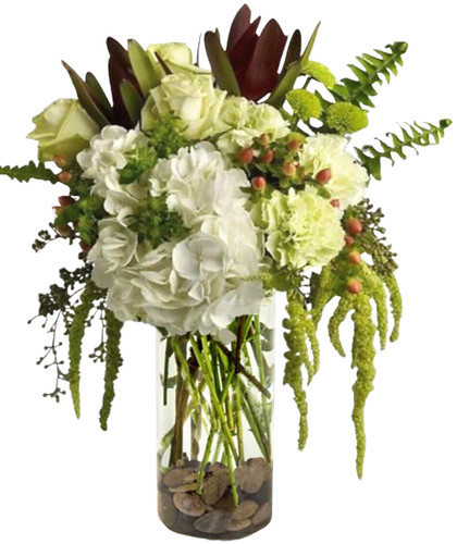 Perfectly Beautiful is a gorgeous neutral bouquet in whites, greens & burgundy perfect for any occasion in Richmond Va.