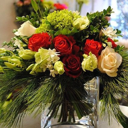 This luxurious holiday arrangement has one dozen roses and fragrant seasonal greens.