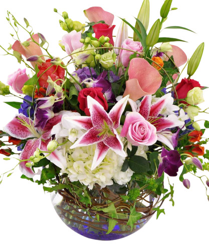 Spring Beauty  Stargazer lilies, roses & orchids