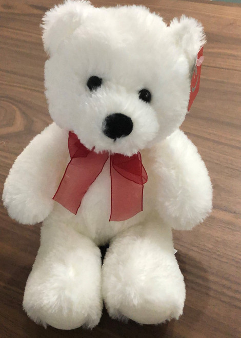 """Soft white teddy with red bow approx 10 """""""