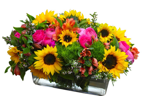 low profile bright arrangement perfect for any table