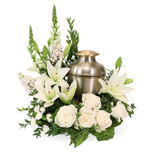 Cremation Wreath in beautiful white blooms