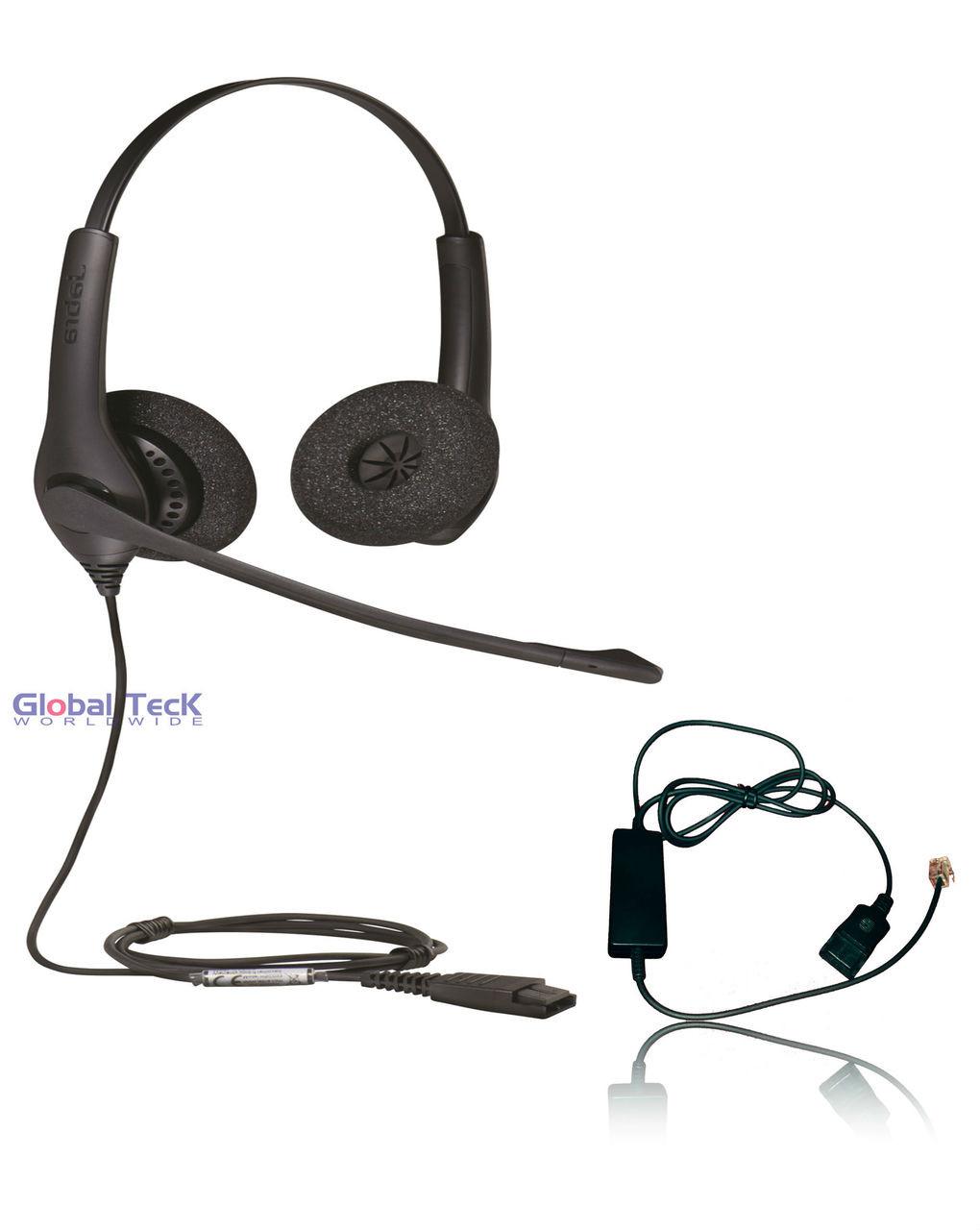 Aastra Compatible Jabra Biz 1525 Duo Headset Bundle With Smart Cord Direct Connect For Aastra Phones 6737i 6739i 6753i 6755i 6757i 7446i 9143i