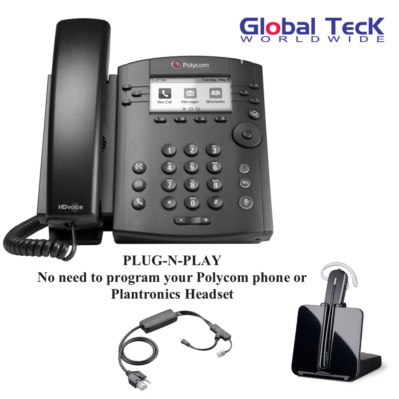 Polycom Ip Phone Vvx 311 6 Lines Office Deluxe Bonus Bundle With Plantronics Cordless Headset Cs540 Desk Headset And Bonus Remote Answering Ehs Adapter