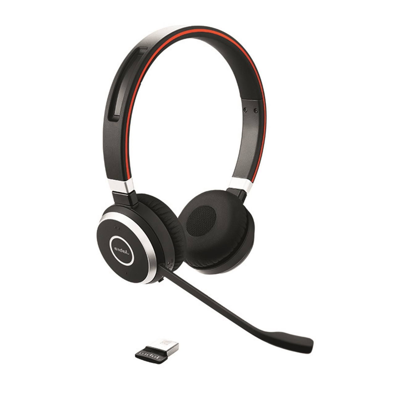 Jabra Evolve 65 Bluetooth Stereo Headset Bundle Uc Version Bonus Mic Cushions Usb Dongle And Charging Stand Compatible With Softphones Smartphones Tablets Pc Mac 6599 823 499