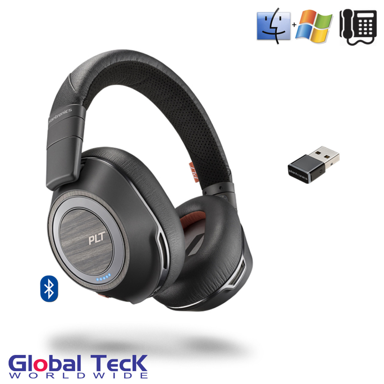 Plantronics Voyager 8200 Uc Stereo Bluetooth Headset Usb Dongle 208769 01 Mobile Pc Mac Tablet Softphones Unified Communications