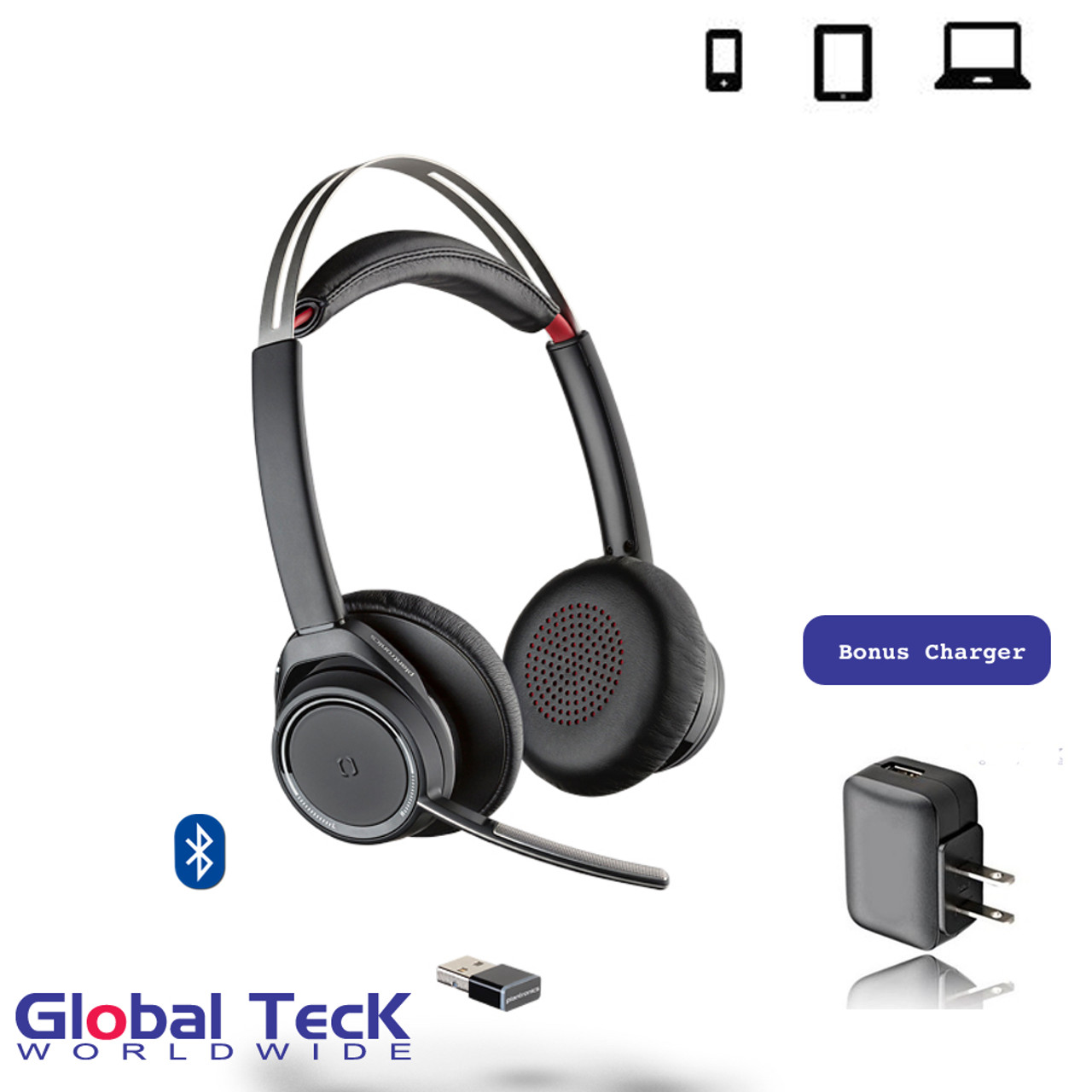 Plantronics Voyager 3200 Uc Bluetooth Headset Usb Dongle And Bonus Ac Charger 207371 01 B Grey Mobile Pc Mac Tablet Softphones Unified Communications