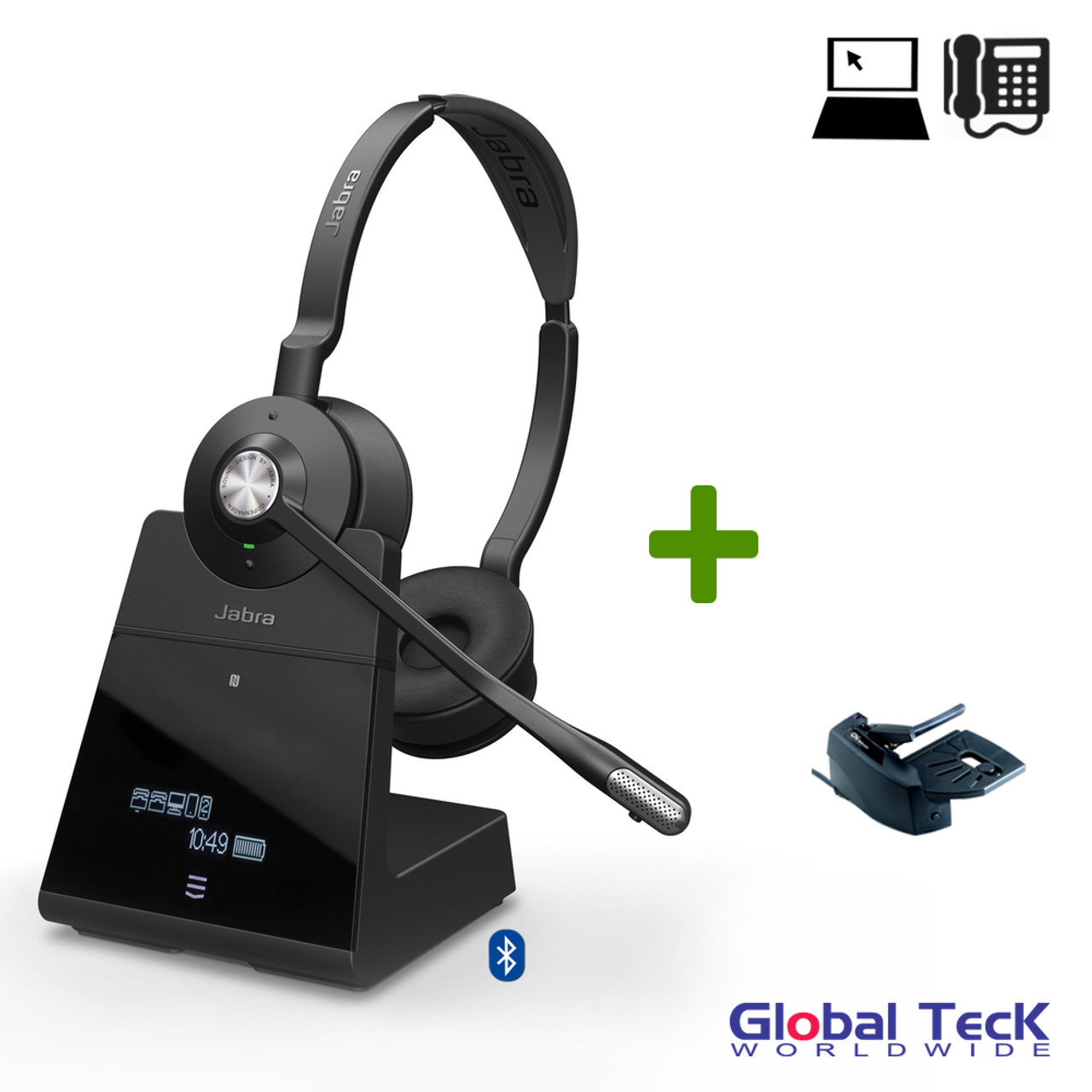 Jabra Engage 75 Wireless Stereo Headset Bundle 9559 583 125 B Bluetooth Pc Deskphone Mobile Usb Nfc Dect Skype Certified Lifter Included Integrated Busy Light Connect 5 Devices