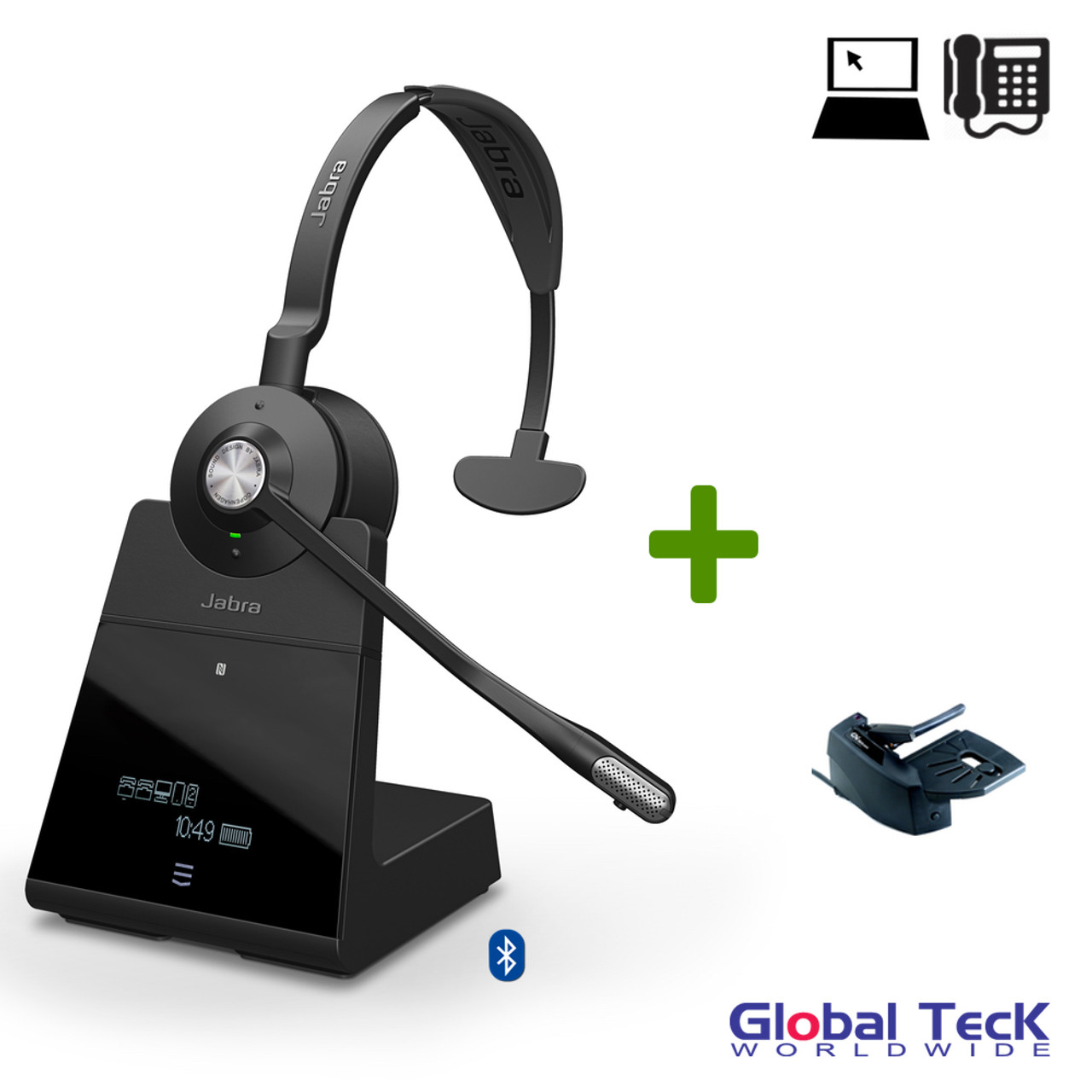 Jabra Engage 75 Wireless Mono Headset Bundle 9556 583 125 B Bluetooth Pc Deskphone Usb Nfc Dect Skype For Business Certified Lifter Included 13 Hours Battery Integrated Busylight Connect 5 Devices