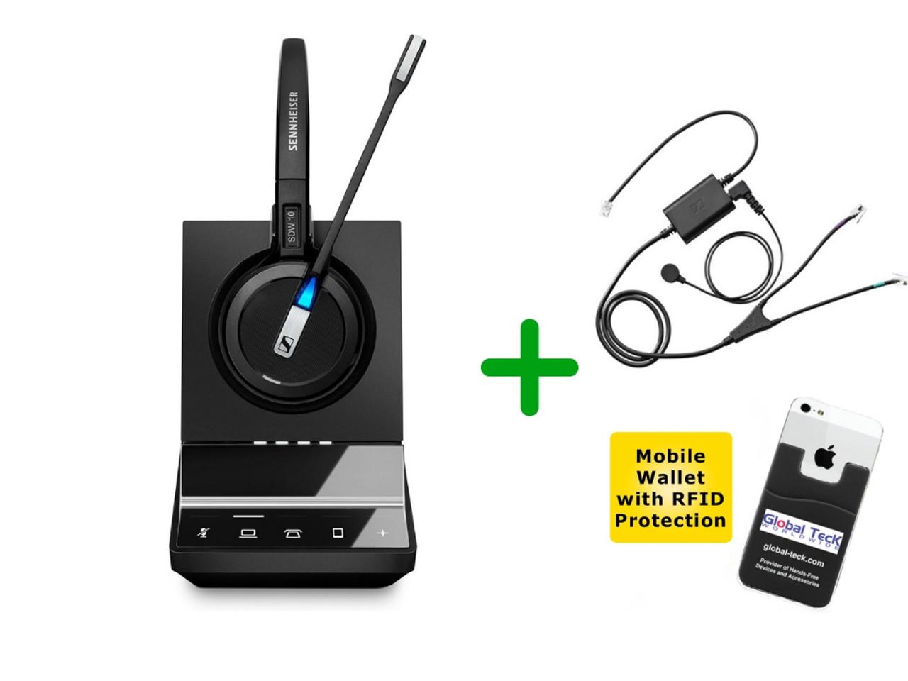 Shoretel Compatible Sennheiser Cordless Sdw 5016 Wireless Headset Bundle For Shoretel Deskphones Bluetooth Phones And Pc Mac Includes Shoretel Ehs Adapter Compatible Shoretel Ip Phones Global Teck