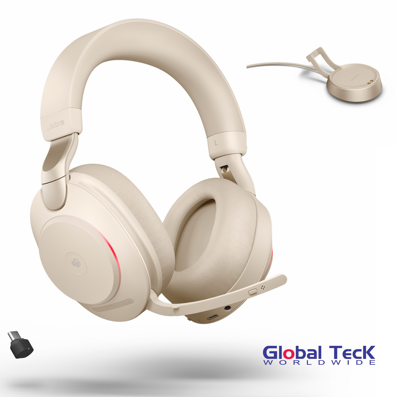 Jabra Evolve2 85 Wireless Stereo Headset Uc Beige Version Included Usb C Bluetooth Dongle And Charging Stand Compatible With Softphones Smartphones Tablets Pc Mac 28599 989 888