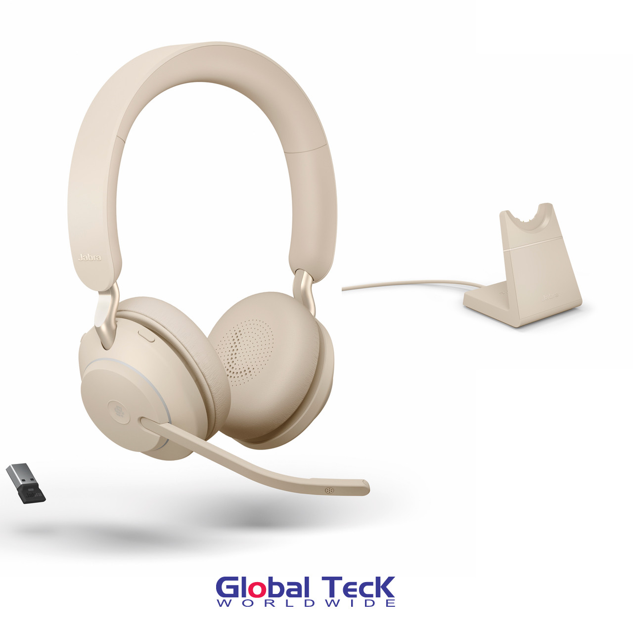 Jabra Evolve2 65 Stereo Wireless Headset Beige Ms Version Includes Usb Bluetooth Dongle And Charging Stand Compatible With Windows Pc Mac Smartphone Streaming Music Skype Ip Communications 26599 999 988