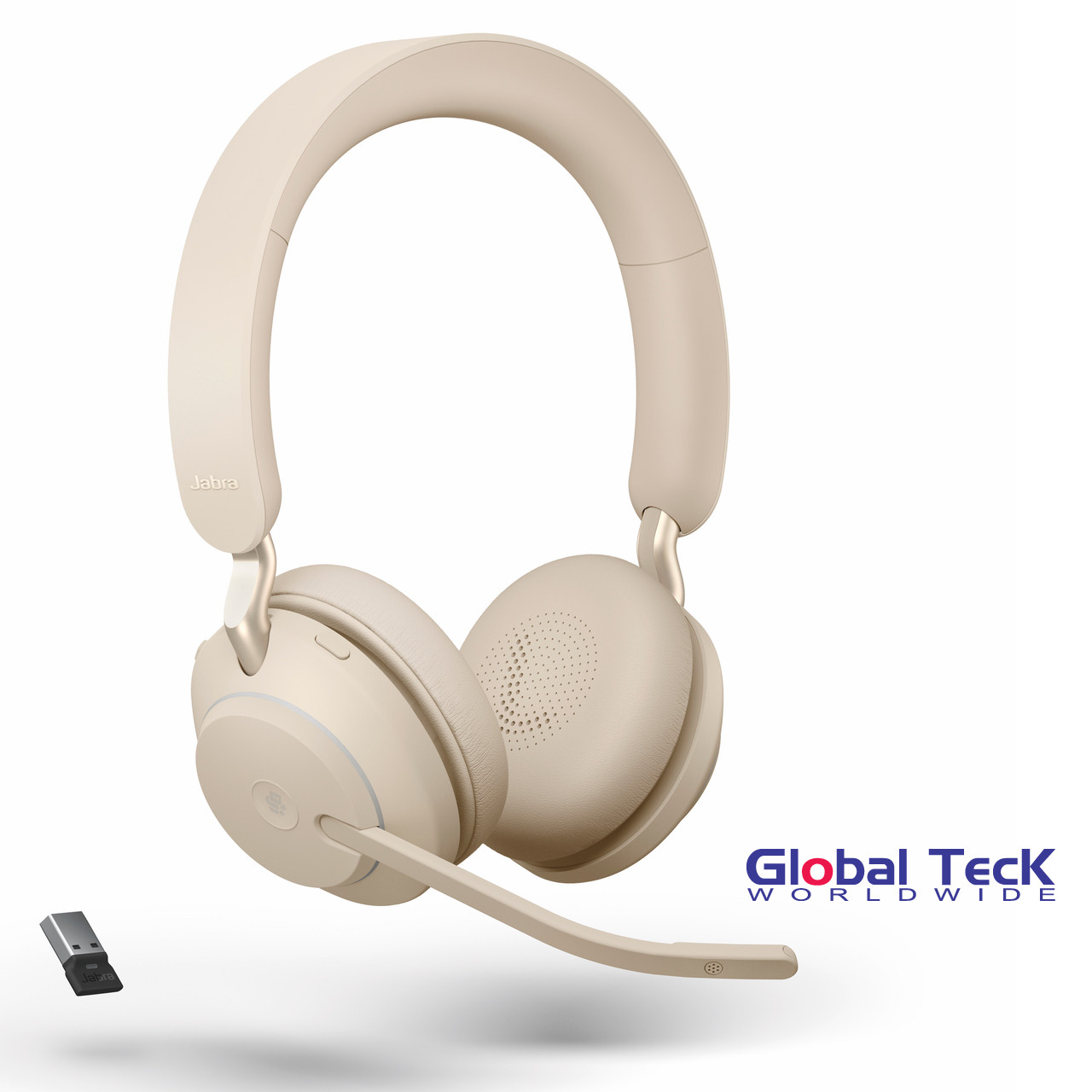 Jabra Evolve2 65 Stereo Wireless Headset Beige Ms Version Includes Usb Bluetooth Dongle Compatible With Windows Pc Mac Smartphone Streaming Music Skype Ip Communications 26599 999 998