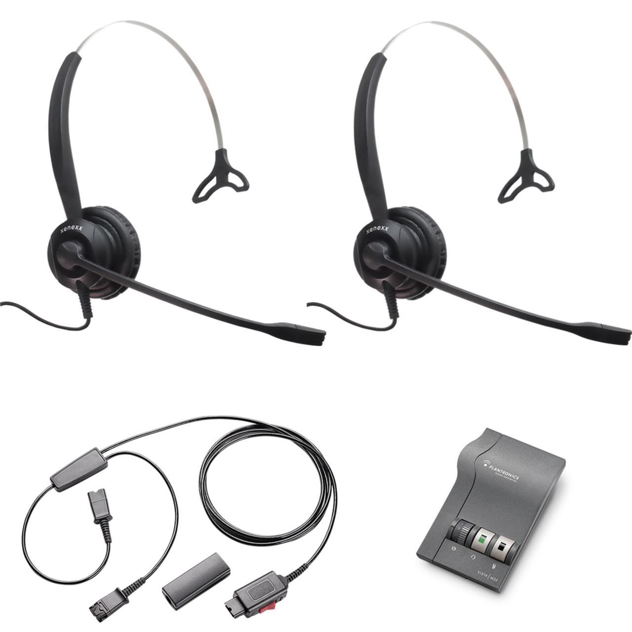 Xs 820 Mono Headset Training Bundle Headsets M22 Digital Headser Adapter Y Training Splitter Cord 27019 03 With Mute Button Use For Coaching Supervising Training Monitoring