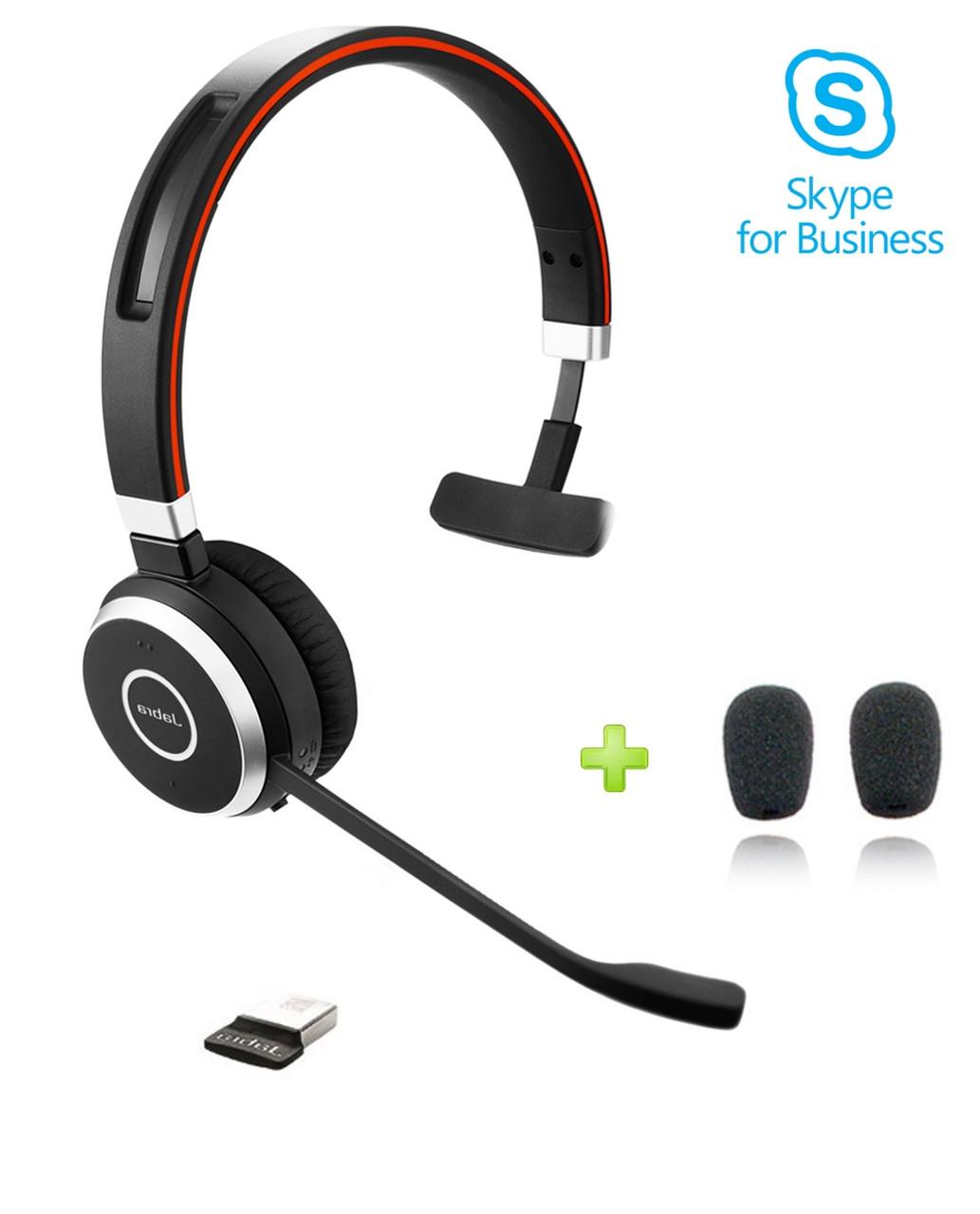 Jabra Evolve 65 Ms Mono Bluetooth Headset Usb Bundle Windows Pc Mac Smartphone Streaming Music Skype Ip Communications 6593 823 309
