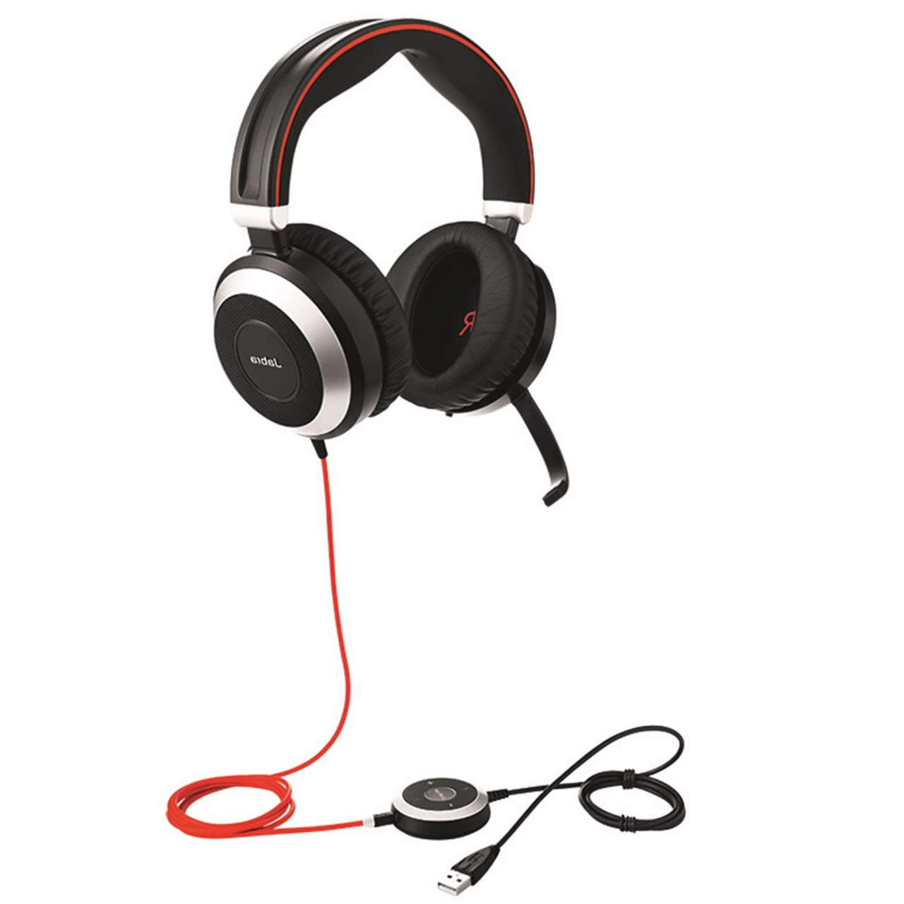 Jabra Evolve 80 Uc Stereo Usb Headset W Active Environmental Noise Canceling Certified For Skype For Business Voip Softphones Mobile Phones And Tablets 7899 829 209