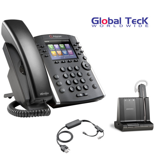 Polycom IP Phone VVX 411 (12-lines) Office Deluxe Bonus Bundle with Plantronics Cordless Headset - Savi W740- Desk/PC/Mobile Headset and Bonus Remote Answering EHS Adapter