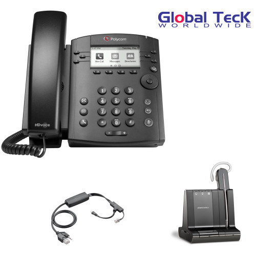 Polycom IP Phone VVX 311 (6-lines) Office Deluxe Bonus Bundle with Plantronics Cordless Headset - Savi W740- Desk/PC/Mobile Headset and Bonus Remote Answering EHS Adapter