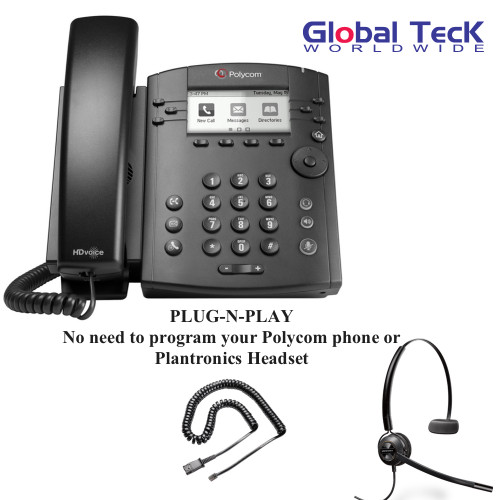Polycom IP Phone VVX 311 (6-lines) Office Deluxe Bonus Bundle with Plantronics Headset | Includes EncorePro HW540 with U10P Telephone Adapter Cable
