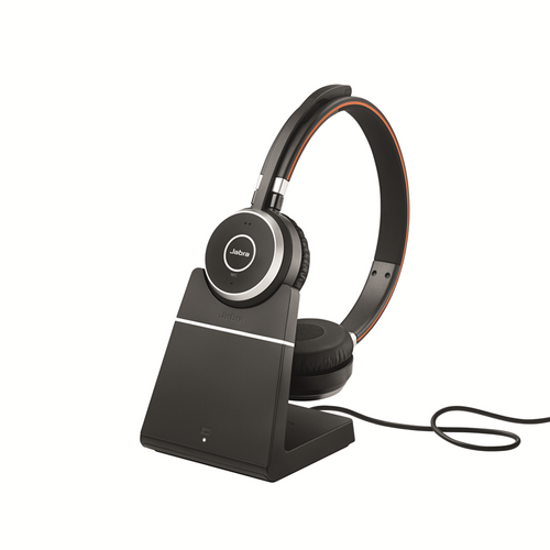 Jabra Evolve 65 Bluetooth Stereo Headset Bundle | MS Version | Bonus Mic Cushions, USB Dongle, Charging Stand | Compatible with Skype/Lync, Softphones, Smartphones, PC/MAC | 6599-823-399