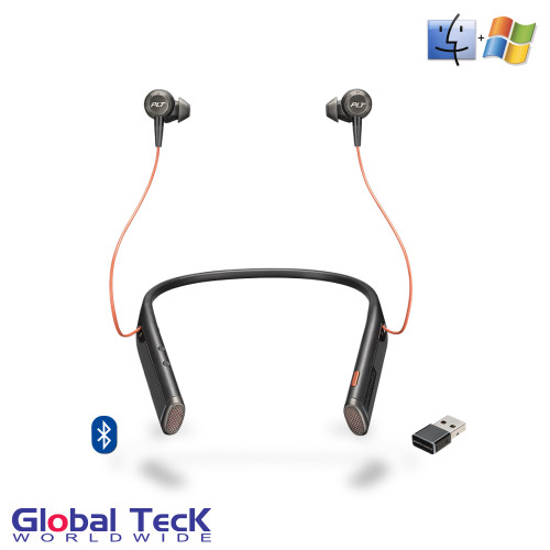 Plantronics Voyager 6200 UC DUO Bluetooth Headphone Neckband with Active Environmental Noise Canceling