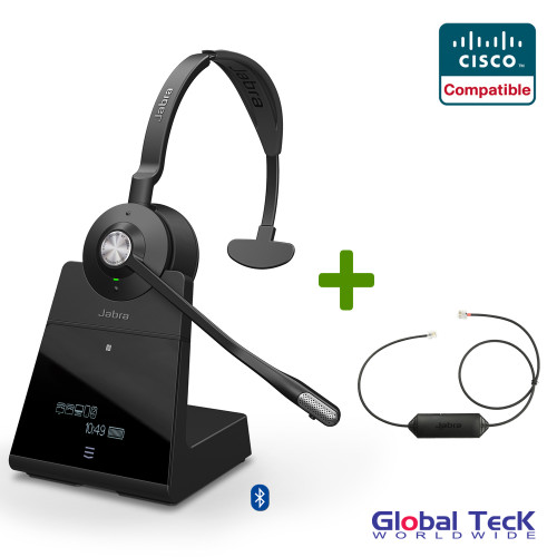 Cisco Compatible Jabra Engage 75 Wireless Mono Headset Bundle with EHS Adapter