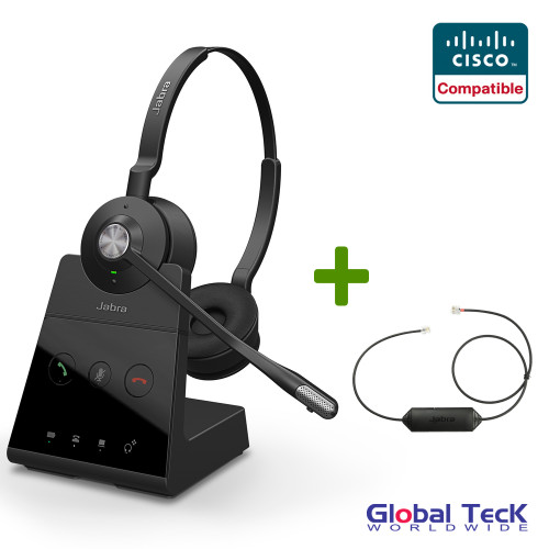 Cisco Compatible Jabra Engage 65 Wireless Duo Headset Bundle with EHS Adapter