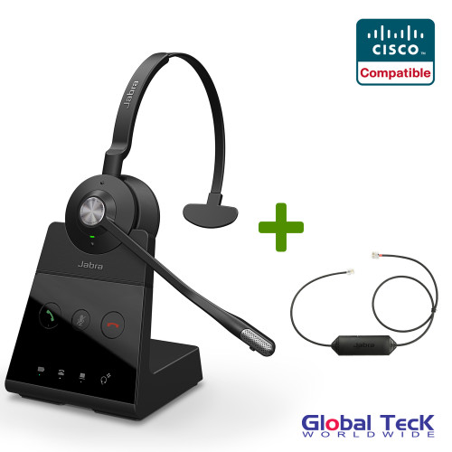 Cisco Compatible Jabra Engage 65 Wireless Mono Headset Bundle with EHS Adapter