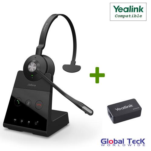 Yealink Compatible Jabra Engage 65 Wireless Mono Headset Bundle with EHS Adapter
