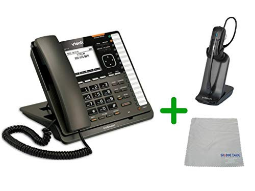 VTECH | VSP735 VoIP, POE, 5 SIP Acocunt Office Desk Phone with Wideband Audio | VH6012 Cordless Headset with Microfiber Cleaning Cloth (VTECH-VSP735-VH6102-B)