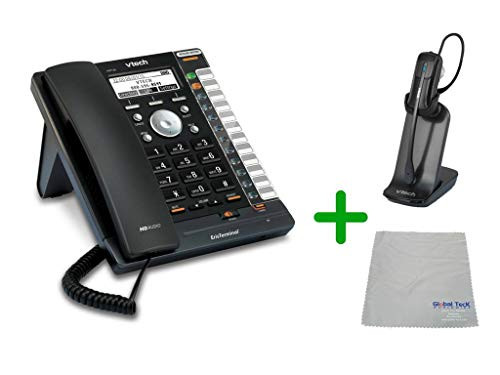 VTECH | VSP726 VoIP, POE, 4 SIP Acocunt Office Desk Phone with Wideband Audio | VH6012 Cordless Headset with Microfiber Cleaning Cloth (VTECH-VSP726-VH6102-B)