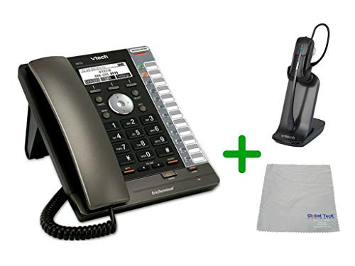 VTECH | VSP725 VoIP, POE, 3 SIP Acocunt Office Desk Phone with Wideband Audio | VH6012 Cordless Headset with Microfiber Cleaning Cloth (VTECH-VSP725-VH6102-B)