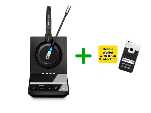 Sennheiser Wireless SDW 5015 Headset Bundle For Deskphones and PC/MAC | Includes Remote Answering Lifter - For by Cisco, Nortel, Panasonic, Vertical, Comdial, Mitel and other business desk phones (SEN SDW5015-B
