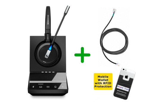 Mitel Compatible Sennheiser Cordless SDW 5016 Headset Bundle with Mitel EHS Adapter | Mitel Phones, PC/MAC, Bluetooth Smartphones | Mitel IP Telephones 6865, 6867, 6869, 6871, 6873 | DHSG Adapter for Remote Answering (SEN SDW5016-MTL)