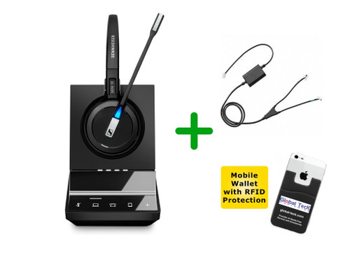 Avaya Compatible Cordless Headset Sennheiser SDW 5016 Headset Bundle - For Avaya Deskphones, Bluetooth Phones, PC/MAC, Avaya EHS Included | Compatible Models: J139, J169, J179, 1400, 9400, 9500 Series and Avaya 96x1 IP series (SEN SDW5016-AVA4)