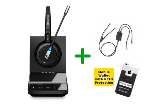 Avaya Compatible Sennheiser SDW 5016 Cordless Headset Bundle For Avaya Phones, Bluetooth Phones, PC/MAC with Avaya EHS Adapter | Compatible Avaya phones: 2420, 5420, 4610, 4610SW, 4620, 4620SW, 4621, 4621SW, 4622, 4622SW, 4625, 4625SW, 4630, 4630SW, (SEN SDW5016-AVA5)