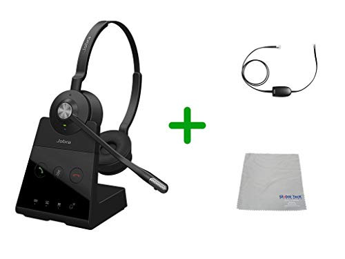 Avaya Compatible Jabra Engage 65 Wireless Duo Headset Bundle with EHS Adapter, 9559-553-125-AVA19 | For Avaya Deskphones and PC/MAC - Compatible Models: 4610SW, 4620, 4620SW, 4621SW, 4622SW, 4630SW, 4626, 4630 IP, 5420, 5610, 5620, 5621 | Busy Light