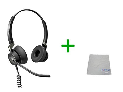 Jabra Engage 50 Stereo Headset - PC/MAC, USB Desk Phones | Compatible with Select USB Phones - Polycom, Yealink, Cisco Jabber, Mitel MiVoice, RingCentral - Cleaning Cloth