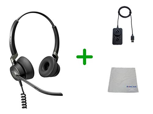 Jabra Engage 50 Stereo Headset USB-C, Microsoft Skype Version Audio Controller - PC/MAC, USB Desk Phones with Cleaning Cloth