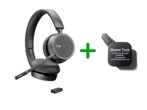 Plantronics Voyager 4220-UC Bluetooth Headset - USB-C Dongle Bundle