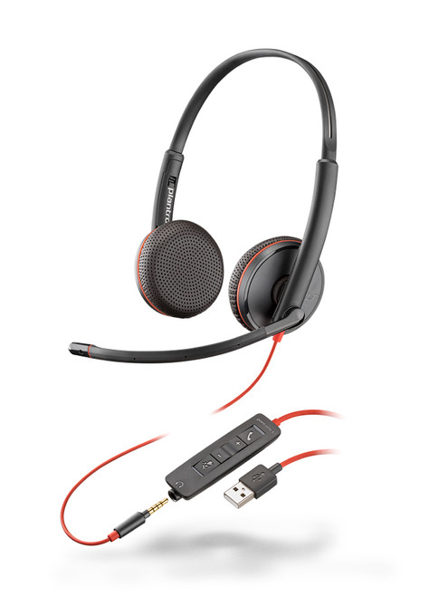 Plantronics Blackwire Duo 3225 USB-A PC Headset | Certified for Skype for Business and Optimized for Microsoft Lync | Built for UC applications and softphones from Avaya, Cisco and others | 209747-101