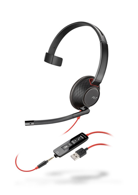 Plantronics Blackwire 5210 Mono USB-A Headset | Certified for Skype for Business and Optimized for Microsoft Lync | Built for UC applications and softphones from Avaya, Cisco and others | 207577-01
