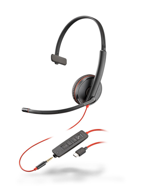Plantronics Blackwire C3215 Mono USB-C 3.5mm QD Headset | Certified for Skype for Business and Optimized for Microsoft Lync | Built for UC applications and softphones from Avaya, Cisco and others | 209750-101
