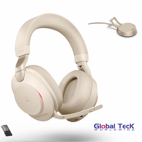 Jabra Evolve2 85 Wireless Stereo Bluetooth Headset | MS (Beige) Version | Includes USB Bluetooth Dongle and Charging Stand | Compatible with Windows PC, MAC, Smartphone, Streaming Music, Skype, IP Communications | 28599-999-988