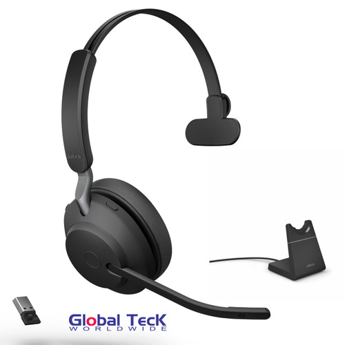 Jabra Evolve2 65 Mono Wireless Headset (Black) | UC Version | Includes USB Bluetooth Dongle and Charging Stand | Compatible with Softphones, Smartphones, Tablets, PC/MAC | 26599-889-989