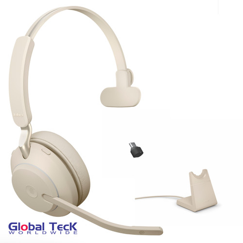Jabra Evolve2 65 Mono Wireless Headset (Beige) | MS Version | Includes USB-C Bluetooth Dongle and Charging Stand | Compatible with Windows PC, MAC, Smartphone, Streaming Music, Skype, IP Communications | 26599-899-888