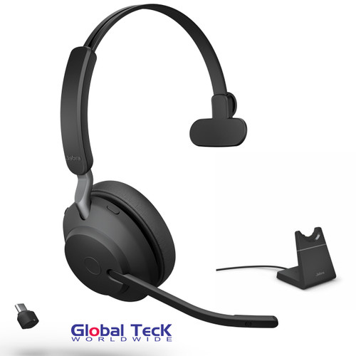 Jabra Evolve2 65 Mono Wireless Headset (Black) | MS Version | Includes USB-C Bluetooth Dongle and Charging Stand | Compatible with Windows PC, MAC, Smartphone, Streaming Music, Skype, IP Communications | 26599-899-889