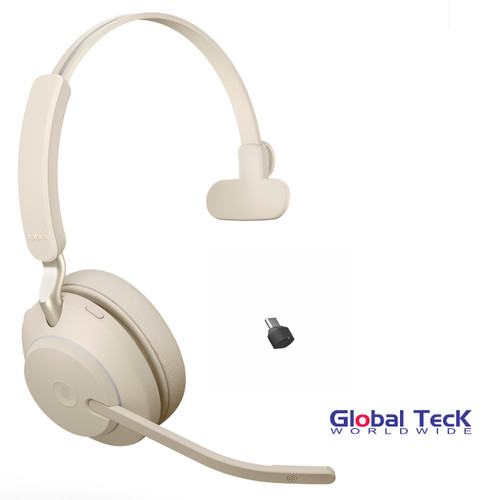 Jabra Evolve2 65 Mono Wireless Headset (Beige) | MS Version | Includes USB-C Bluetooth Dongle | Compatible with Windows PC, MAC, Smartphone, Streaming Music, Skype, IP Communications | 26599-899-898