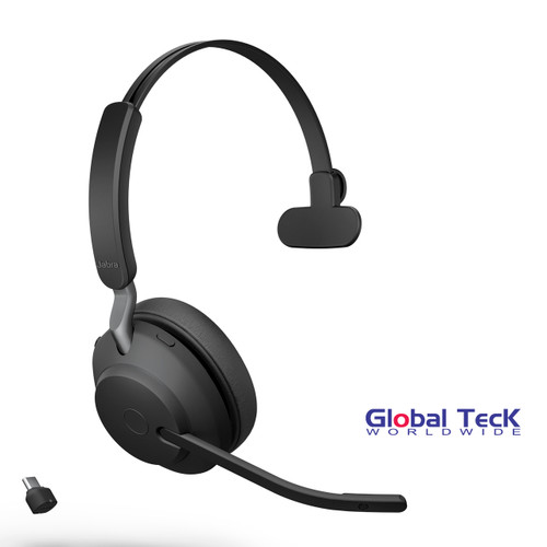 Jabra Evolve2 65 Mono Wireless Headset (Black) | MS Version | Includes USB-C Bluetooth Dongle | Compatible with Windows PC, MAC, Smartphone, Streaming Music, Skype, IP Communications | 26599-899-899