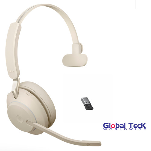 Jabra Evolve2 65 Mono Wireless Headset (Beige) | MS Version | Includes USB Bluetooth Dongle | Compatible with Windows PC, MAC, Smartphone, Streaming Music, Skype, IP Communications | 26599-899-998